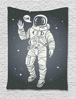 Outer Space Decor Tapestry by Ambesonne, Pop Art Astronaut S