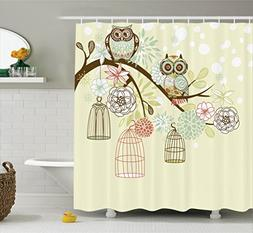 Ambesonne Owls Home Decor Collection, Owl Winter Floral Back