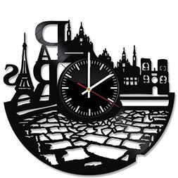 Paris France Vinyl Record Wall Clock - Get unique kitchen wa