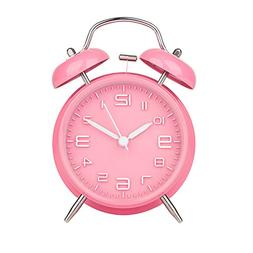 "Peakeep 4"" Twin Bell Pink Alarm Clock, Battery Operated, Lou"