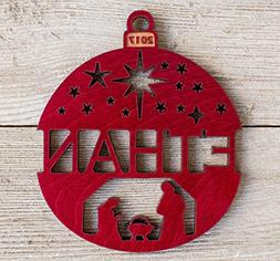 Personalized Nativity Scene 2018 Christmas Ornament from Sol