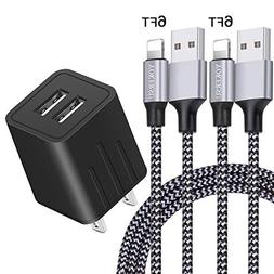 YOKERSU Phone Charger Nylon Braided Fast Charging Cable 2Pac