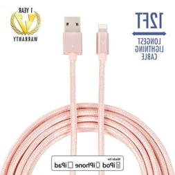 vCharged Pink/Rose Gold 12 FT Longest Lightning Cable Nylon