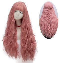 netgo Women's Pink Wig Long Fluffy Curly Wavy Hair Wigs for