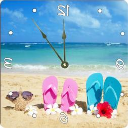 Rikki Knight Pink Yellow Flip Flops Starfish Red and White F