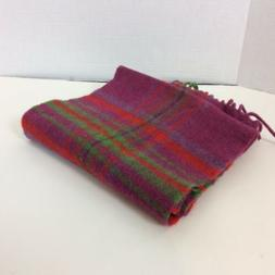 """John Hanly Plaid Lambswool Scarf Extra Long 10"""" x 80"""" Made I"""