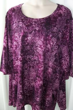 Catherines Plus 5X  Purples Pink Extra Long STRETCHY Knit To