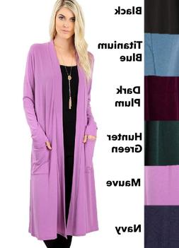 Plus Size Extra Long Slouch Cardigan Sweater w/ Pockets Colo