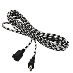 Power Extension Cord, Braided Indoor 2 Prong Plug 16AWG - UL