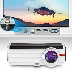 "HD Projector 4200 Lumens Efficiency with 200"" Max Display 50"