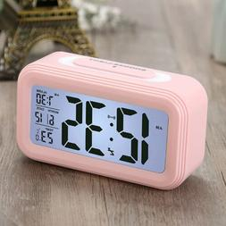 Protable LCD Display Alarm Clock Timer Date Temperature Nigh