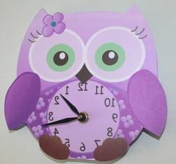 Purple Sweet Little Owl Wooden WALL CLOCK for Girls Bedroom