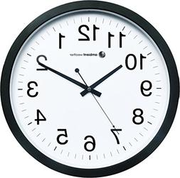 """Ambient Weather Q-1400WB 14"""" Quiet Quartz Wall Clock with Sw"""