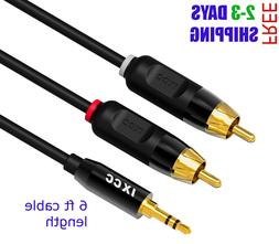 RCA Cable, iXCC 6ft Dual Shielded Gold-Plated 3.5mm Male to