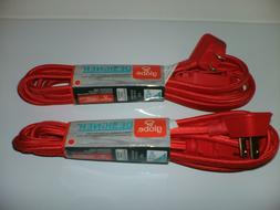 RED Fabric Covered Extension Cord 9 ft. long with 3 2-prong