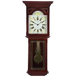 """Bedford Clock Collection Redwood 23"""" Wall Clock with Pendulu"""