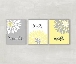 Relax Soak Unwind Floral Wall Art in Yellow Gray and White S