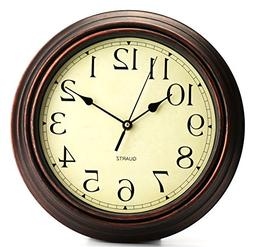 Bekith 12-Inch Round Classic Clock Retro Non Ticking Quartz