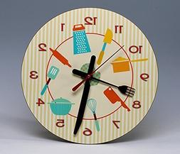 """8"""" Round Kitchen Wall Clock ~ a whimsical ready-to-hang deco"""