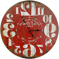 Round Red Decorative Wall Clock With Big Numbers And Distres