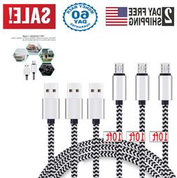 Samsung Galaxy S7 S6 Extra Long Micro USB Fast Charger Braid