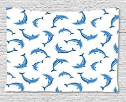 Ambesonne Sea Animals Decor Collection, Pattern With Dolphin
