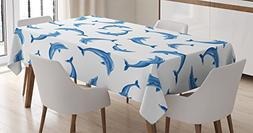 Sea Animals Decor Tablecloth by Ambesonne, Pattern with Dolp