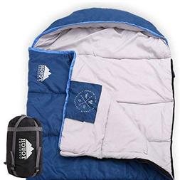 All Season XL Hooded Sleeping Bag with Compression Sack - Pe