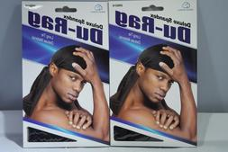 Set of 2 Black Deluxe Spandex Du Rag Long Tie Extra Long Tai