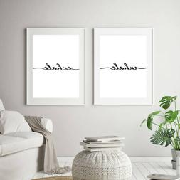 Set Of 2 Inhale Exhale Quote Art Prints Posters Meditation W