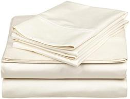 4PCs Sheet set 400 Thread count 100% Cotton Sheet Ivory Soli