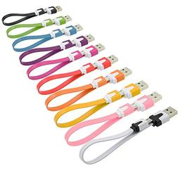 Short USB Cable, OKRAY 10 Pack Colorful Micro USB 2.0 Chargi