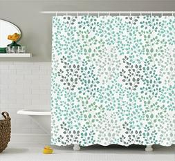 Nature Shower Curtain in Green Decor by Ambesonne, Pattern w