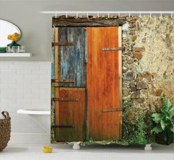 Ambesonne Shutters Decor Shower Curtain Set, Old Fashion Cou