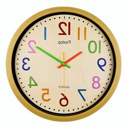 Foxtop Silent Kids Wall Clock Large Colorful Decorative Non