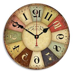 Enjoy House 12 inch Silent Non-ticking Wood Wall Clock with