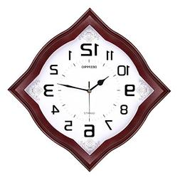 DEEPPRO Silent Wall Clock Solid Wood 14-inches Diamond Non T