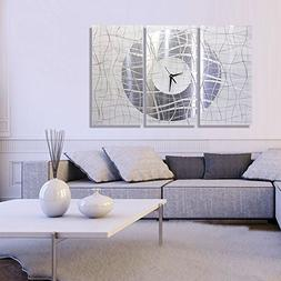 Extra Large Silver & White Metal Wall Clock - Modern Abstrac