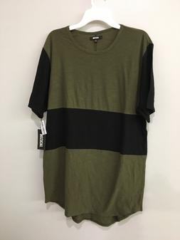Size L Womens Olive Green & Black Extra Long Tee Size L Shir