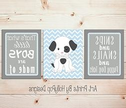 Snips and Snails and puppy dog tails, Baby boy nursery art,