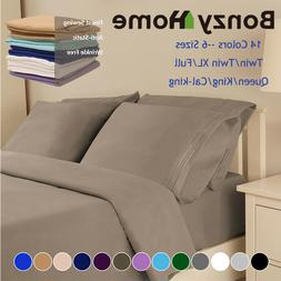 Soft Bed Sheet 1800 Count 4/6 Piece Deep Pocket King Twin Fu