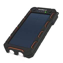 Solar Charger 15000mAh, X-DNENG Portable High Efficiency Sun