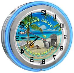 """Some Beach Somewhere 18"""" Blue Double Neon Garage Clock from"""