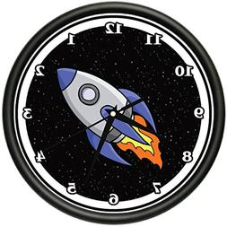 UP IN SPACE Wall Clock rocket kid astronaut sci fi gift