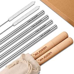 MOSOLAN Stainless Steel Reusable Straws with Case | Set of 4