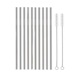 Set of 10 Stainless Steel Straws, HuaQi Straight Reusable Dr