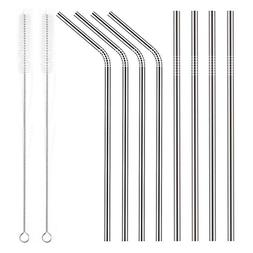 YIHONG Set of 8 Stainless Steel Metal Straws Ultra Long 10.5