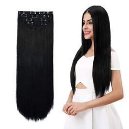 "REECHO 24"" Straight Long 4 PCS Set Thick Clip in on Hair Ext"