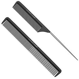 "Styling Comb and Rattail Comb Set - Professional 8.75"" Bla"