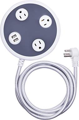 Surge Protector Power Strip with USB Charger, 3 Outlets, 2 U